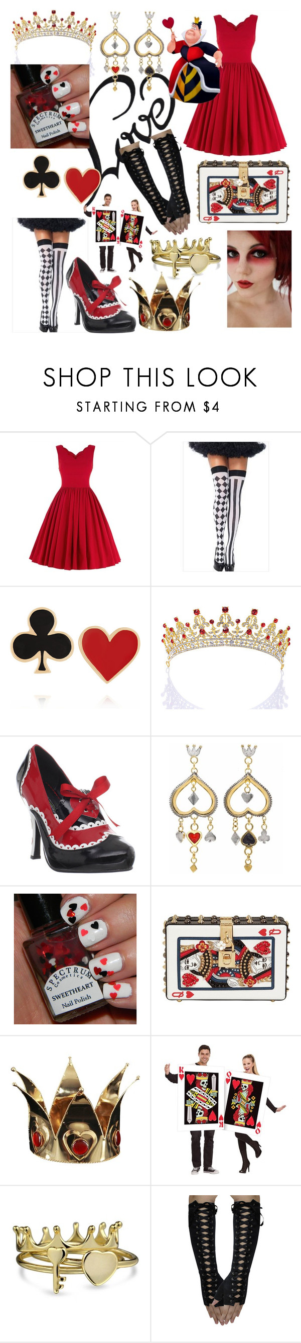 """Queen of Hearts❤👑"" by peridot11871 ❤ liked on Polyvore featuring Sexy Romantie, Alison Lou, Funtasma, Sophie Harley London, Dolce&Gabbana and Bling Jewelry"