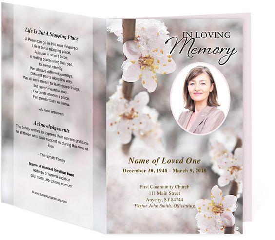 Funeral Program Samples Winter themed Blossom Template Home - funeral programs samples