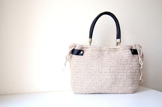 Cyber Monday Sale-Cream / Beige Crocheted Handbag by hibbe on Etsy