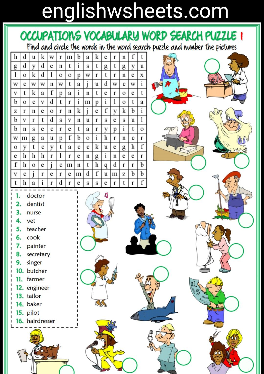 In the living room missing letters in words worksheet - Jobs Esl Printable Word Search Puzzle Worksheets For Kids 5 Sets Jobs