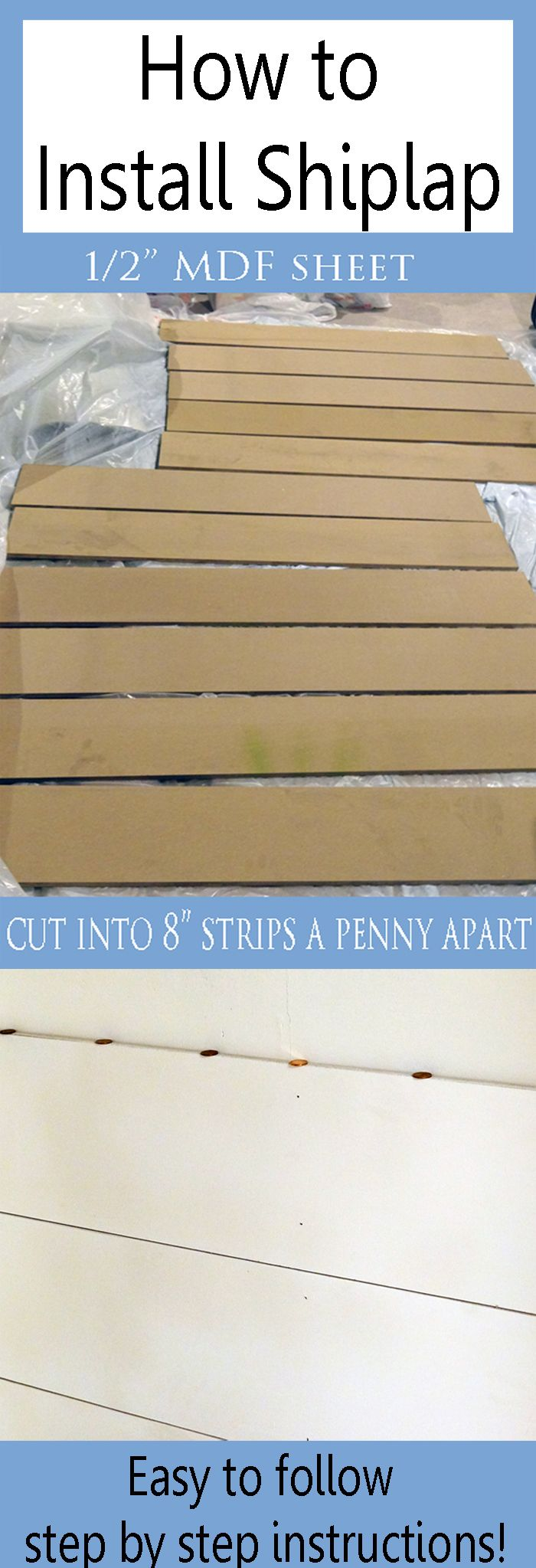 Shiplap is all the rage and is so easy and inexpensive to do!  Come learn how to install shiplap with this step by step tutorial at Provident Home Design.  DIY Home Decor.  DIY Projects.