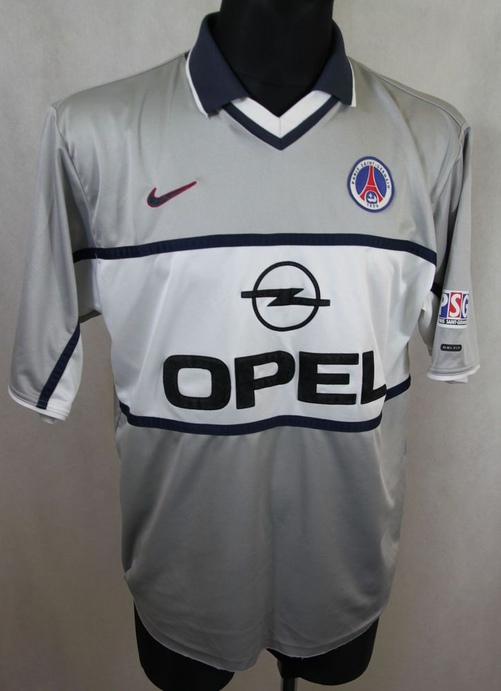 03006ec4252 PSG Saint Germain Paris 2000 2001 Away Football Jersey Nike Dry Fit sz L  (139)