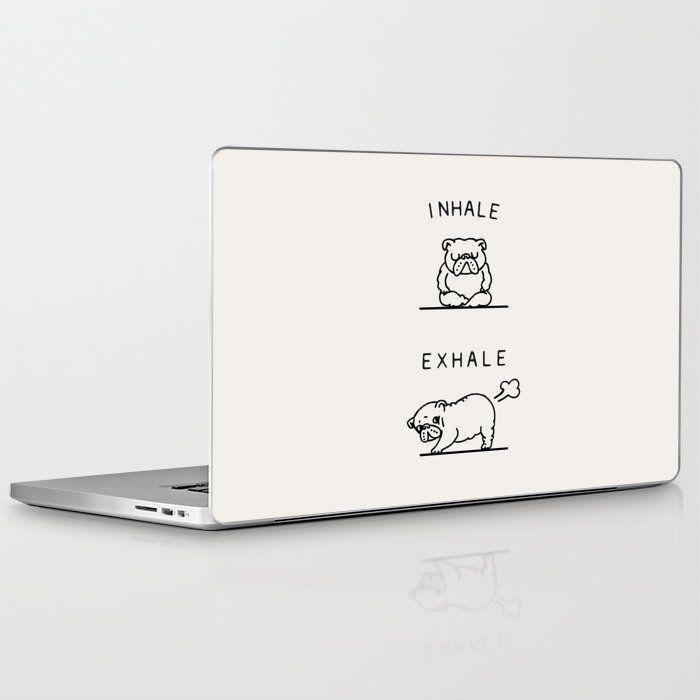 Inhale Exhale English Bulldog Laptop & Ipad Skin by Huebucket - 13 MacBook Pro Retina #inhaleexhale