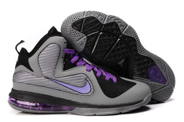 8be74320840 Nike Air Max LeBron James 9 Grey Black Purple Basketball shoes ...