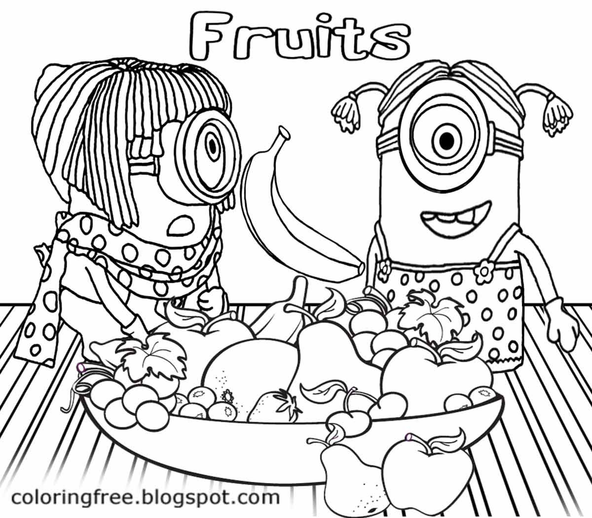 Black And White Drawing Flying Banana Orange And Apple Bowl Of Fruit Minion Banana Coloring Minion Coloring Pages Monster Coloring Pages Minions Coloring Pages