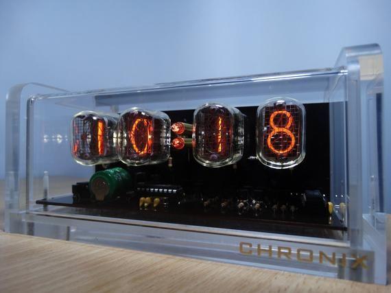 4xIN-12 NIXIE TUBES CLOCK with white led backlight, alarm