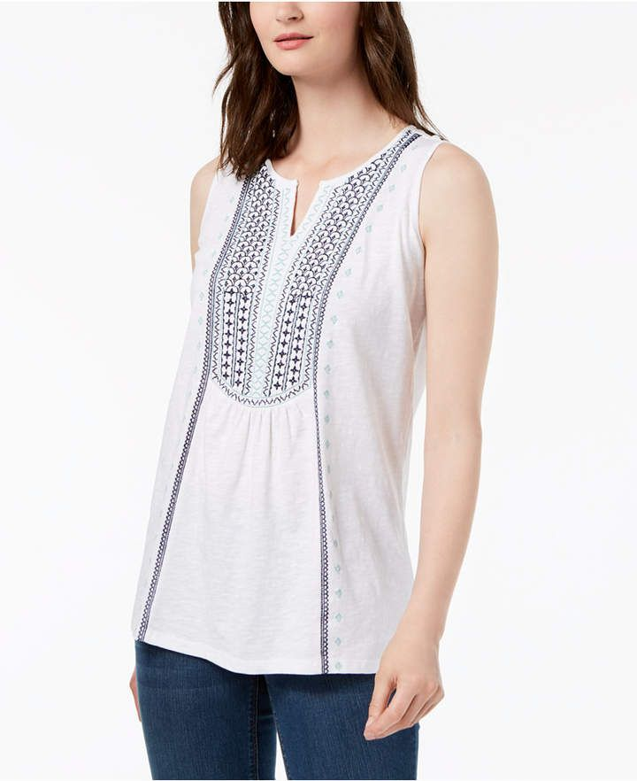 16e39faca9c Charter Club Cotton Embroidered Tank Top, Created for Macy's ...