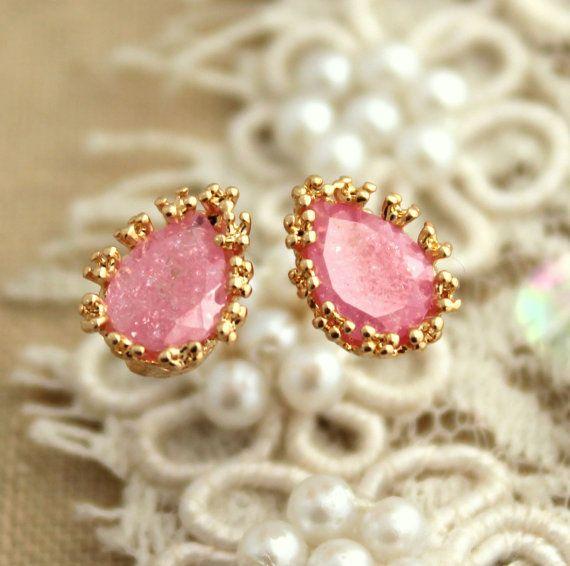 Pink blush zircon stud earrings  14k Gold filled by iloniti, $43.00