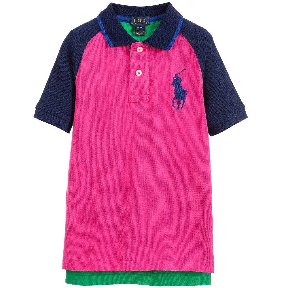 Polo Ralph Lauren Boys Pink Colour Bock Big Pony Polo Shirt