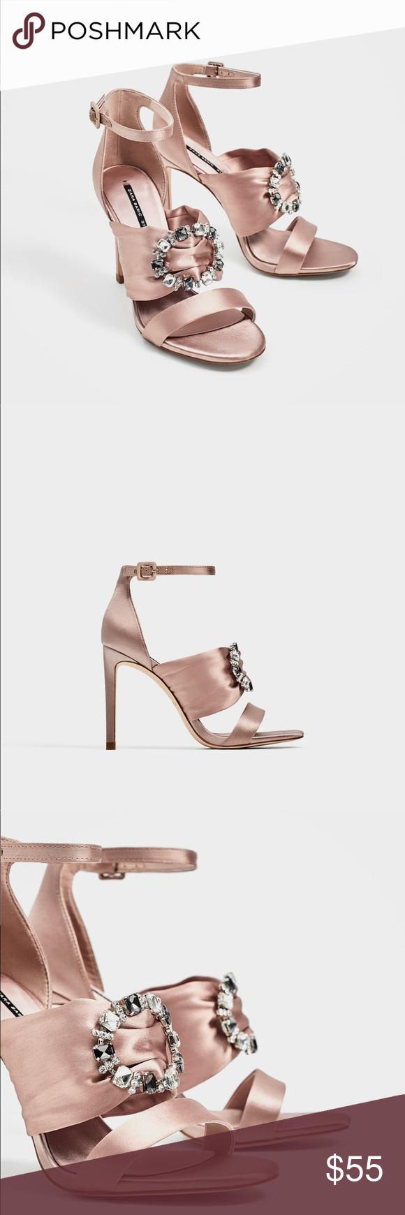 1af4ff5ca8f ZARA satin high heel sandal US 8 EU 39 new ZARA Satin high heel sandals US size  8 EU size 39 Strap over the instep with diamanté brooch. Buckled ankle strap  ...