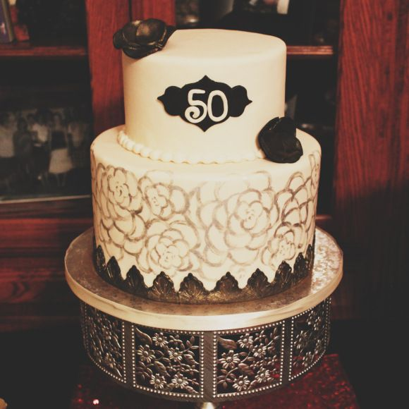 50th Birthday Cake Silver Gold Black Whisk Until Sweet Cakes