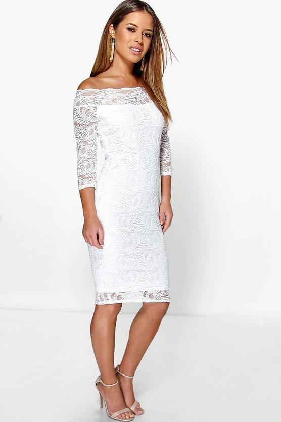 Petite Nikki Lace Bardot Midi Dress