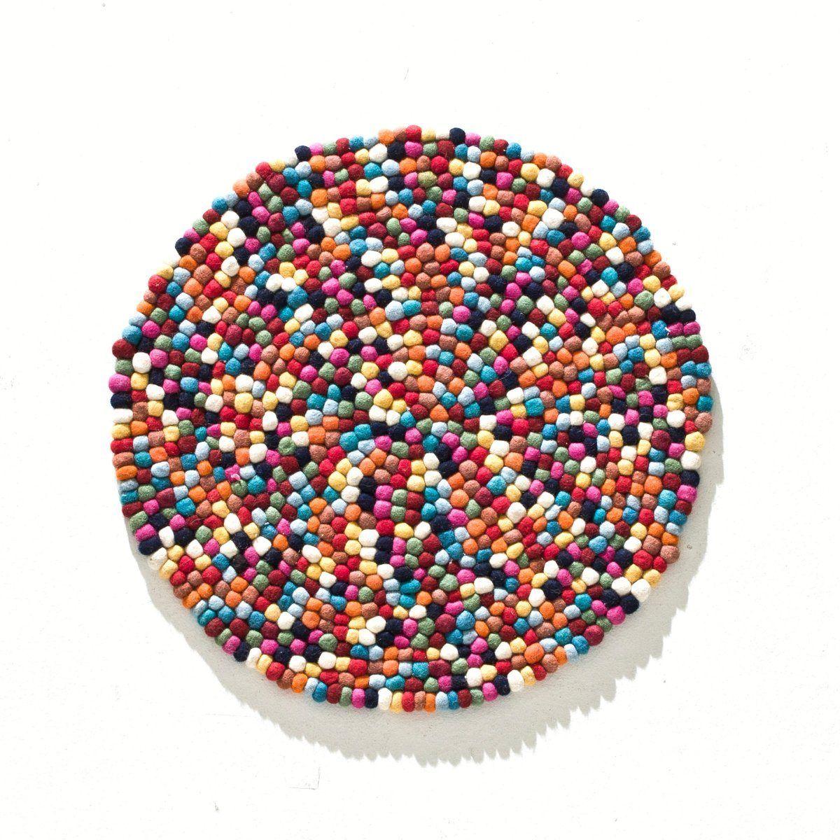 la redoute tapis rond laine feutr e boules multicolores autre la redoute tapis pinterest. Black Bedroom Furniture Sets. Home Design Ideas