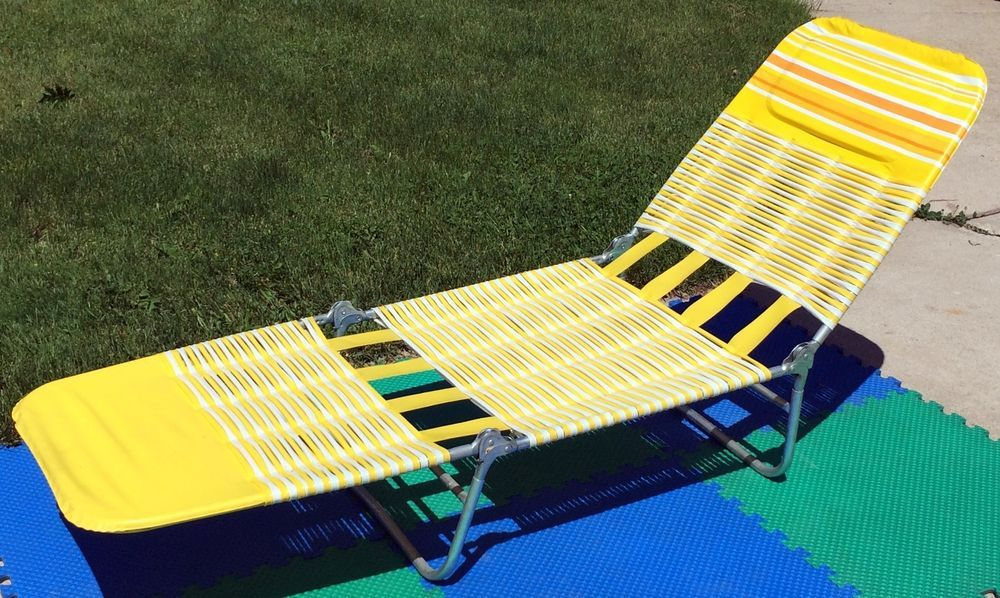 Vintage 80 S Vinyl Cushion Tube Web Adjustible Folding Chaise Lounge Lawn Chair Folding Beach Chair Lawn Chairs My Childhood Memories