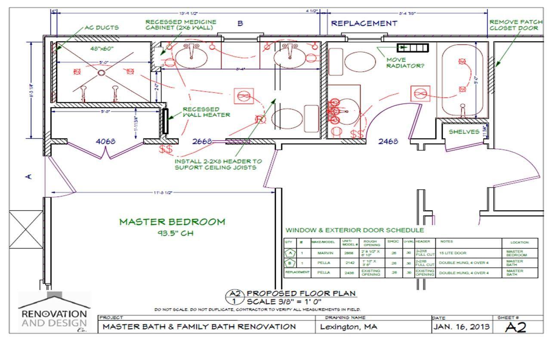 Lexington, MA Bathroom Remodel Design Plan Bathroom