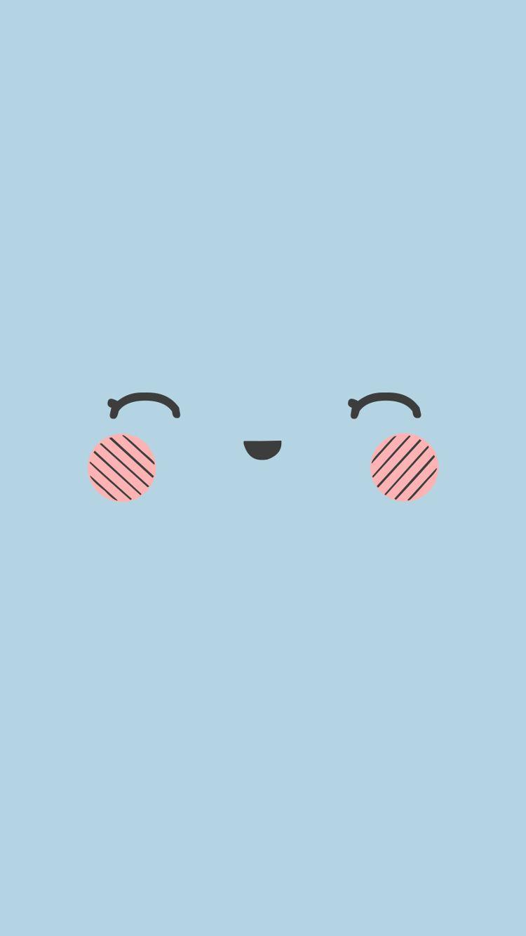 Kawaii Face Blue Phone Wallpaper Jpg 750 1 334 Piks