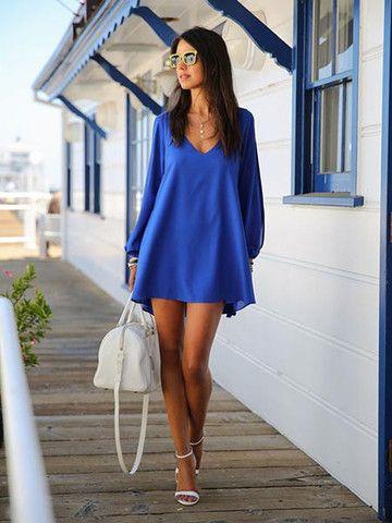 Women Sexy Deep V Long Sleeve Strapless Chiffon Mini Dress BLUE http://k-bobbyinternational.myshopify.com/collections/clothing-and-apparel?page=2