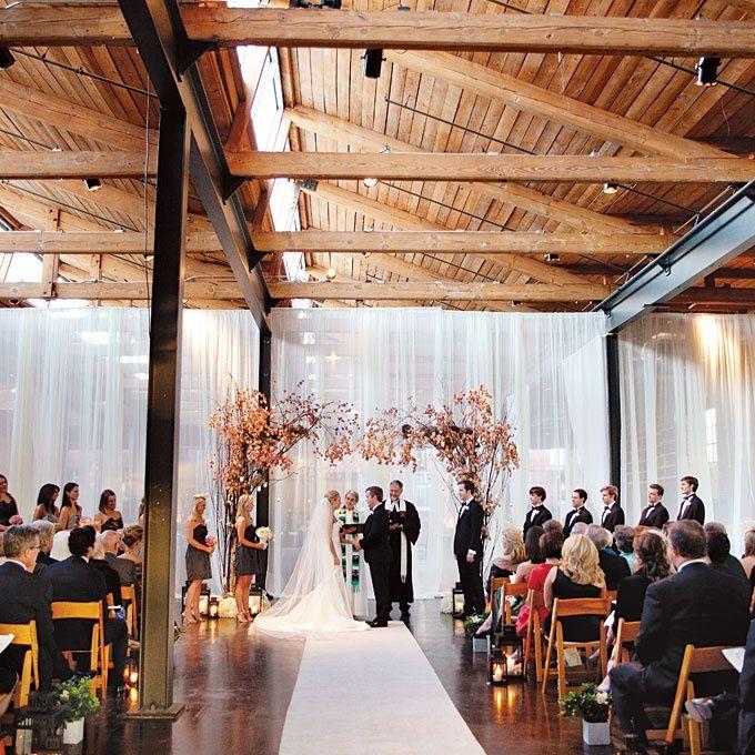 Indoor Wedding Ceremony Brampton: Wedding Ceremony Beneath A Canopy Of Flowering Branches