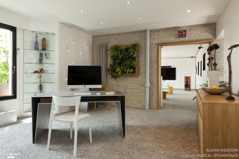 bureau moderne et design avec mur végétal. | design d'intérieur