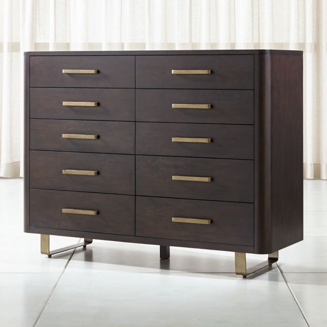Gwen 10 Drawer Wood And Metal Dresser Reviews Crate And Barrel