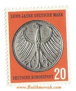 an old 1958 Germany Stamp Deutsche Bundespost 20 (Pfennig