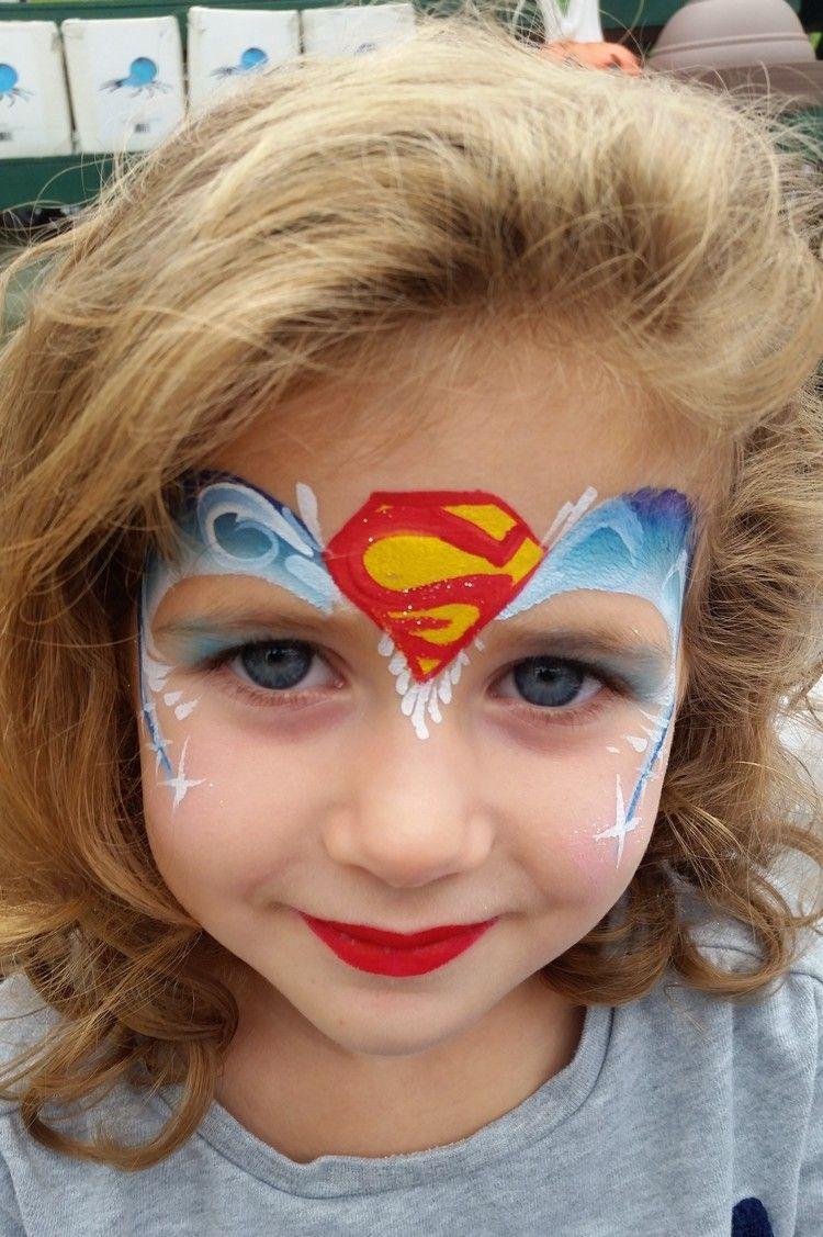 kinder schminken fasching mädchen superheldin supergirl #fasching ...