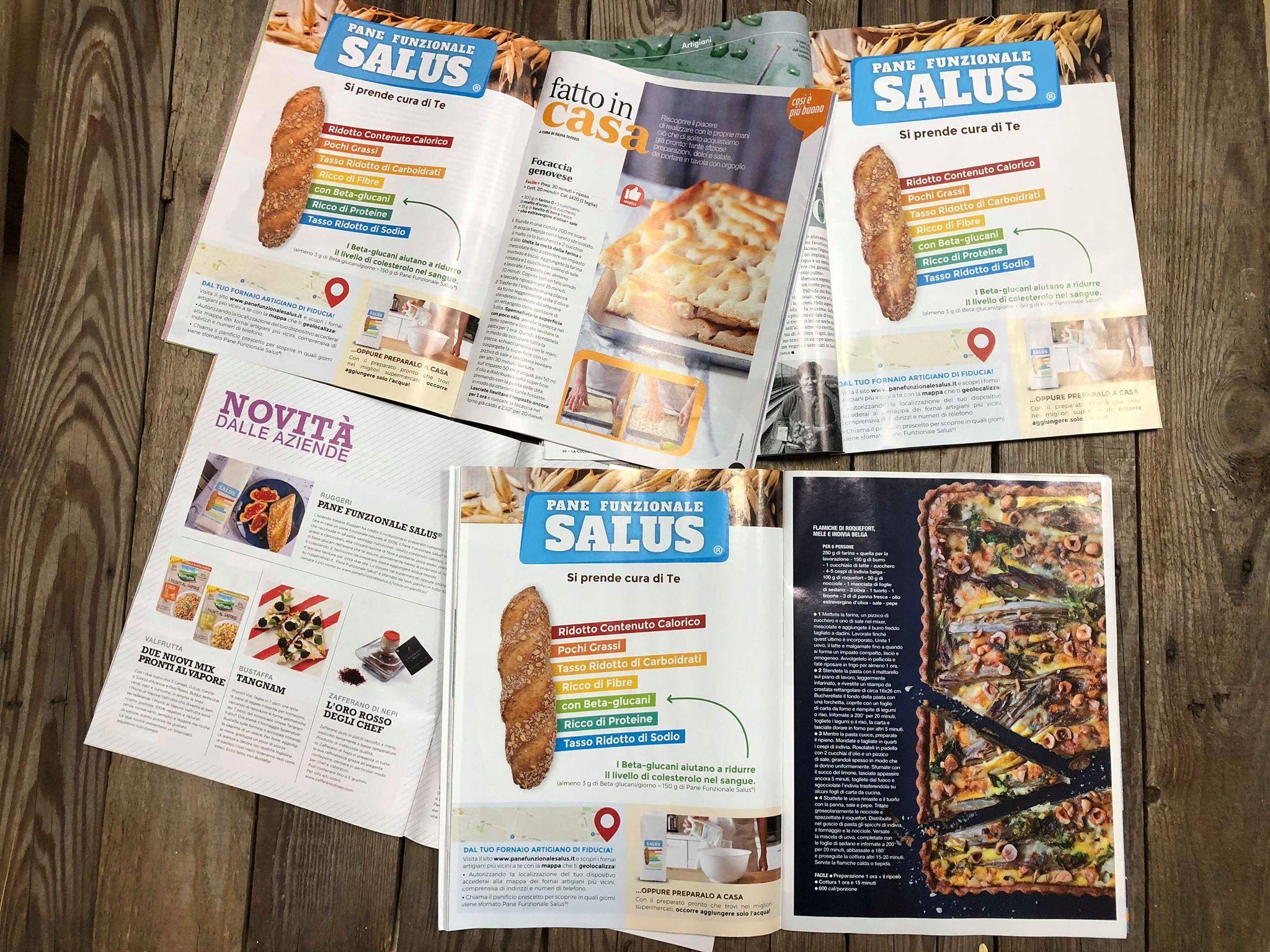 Questo mese trovi pane funzionale salus su molte riviste di cucina