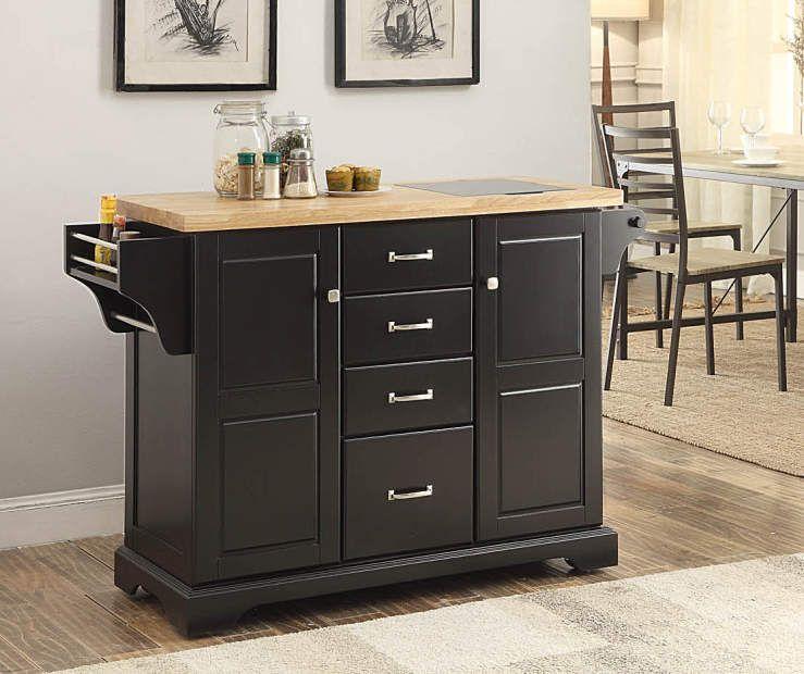 Black 4-Drawer Kitchen Cart | Big Lots | White kitchen cart ...