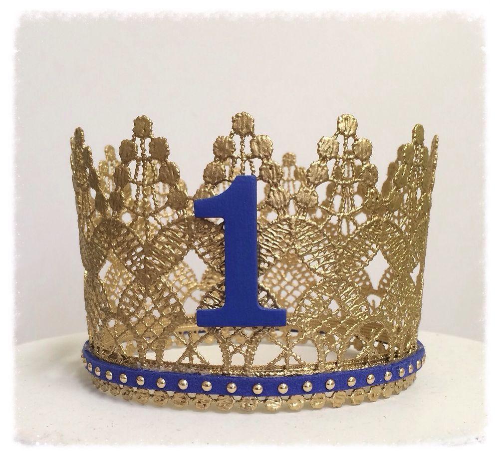 Metallic Gold Lace Crown Baby Boy First Birthday Photo Prop Cake Topper Decoracion Salones De Fiesta Fotos De Cumpleanos De Ninos Coronas De Encaje