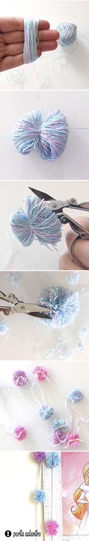 Como fazer varal com pompom Varais decorativos são muito fáceis de fazer e  ficam lindinhos pra usar no quarto ou no escritório 4d0a6f27268