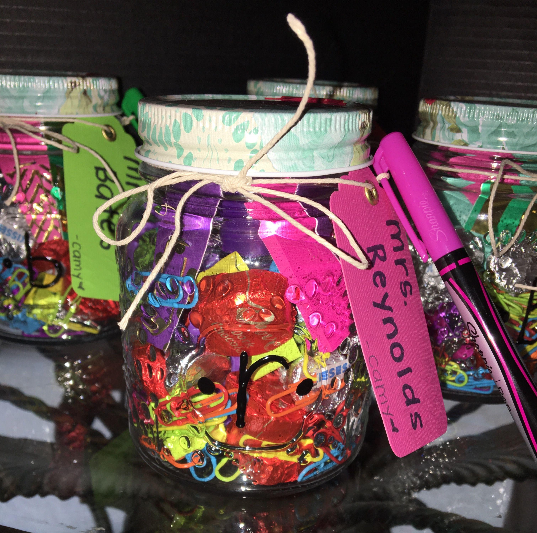 Diy endofyear teacher gift cute mason jar filled with