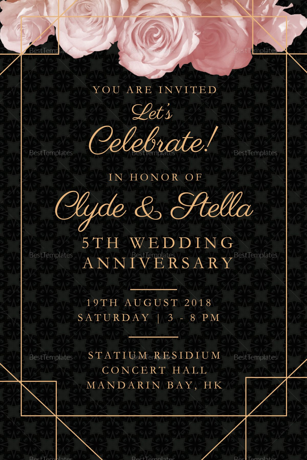 Elegant Invitation Templates  Wedding anniversary invitations