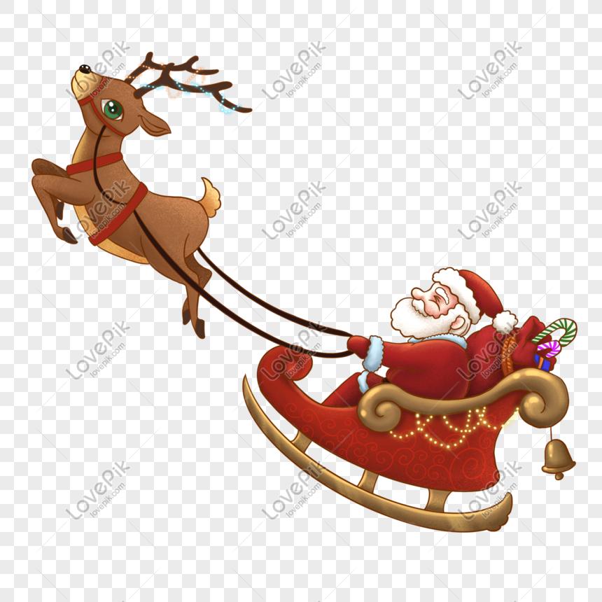 Santa Reindeer Sleigh Silhouette Vector Material Santa And Reindeer Reindeer And Sleigh Reindeer
