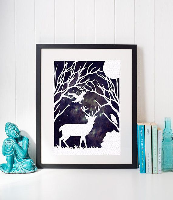 Stag Wall Hanging Stag Home Decor Stag and Raven Stag