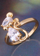 Glamour Gold Bronze Cat Glass Pear Shaped Fashion Ring