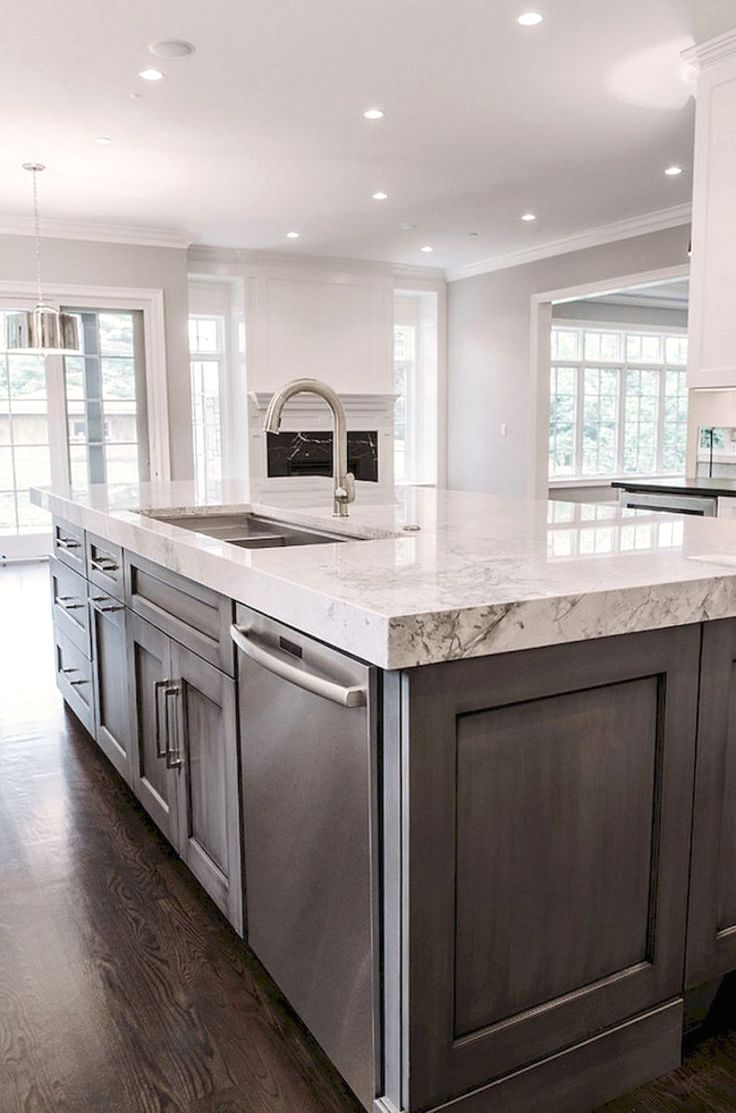 Best Grey Cabinets With White Marble Countertops Kitchen 640 x 480