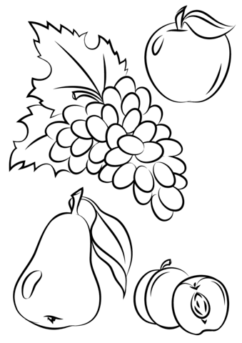 Autumn Fruits Coloring Page Fruit Coloring Pages Vegetable Coloring Pages Coloring Pages