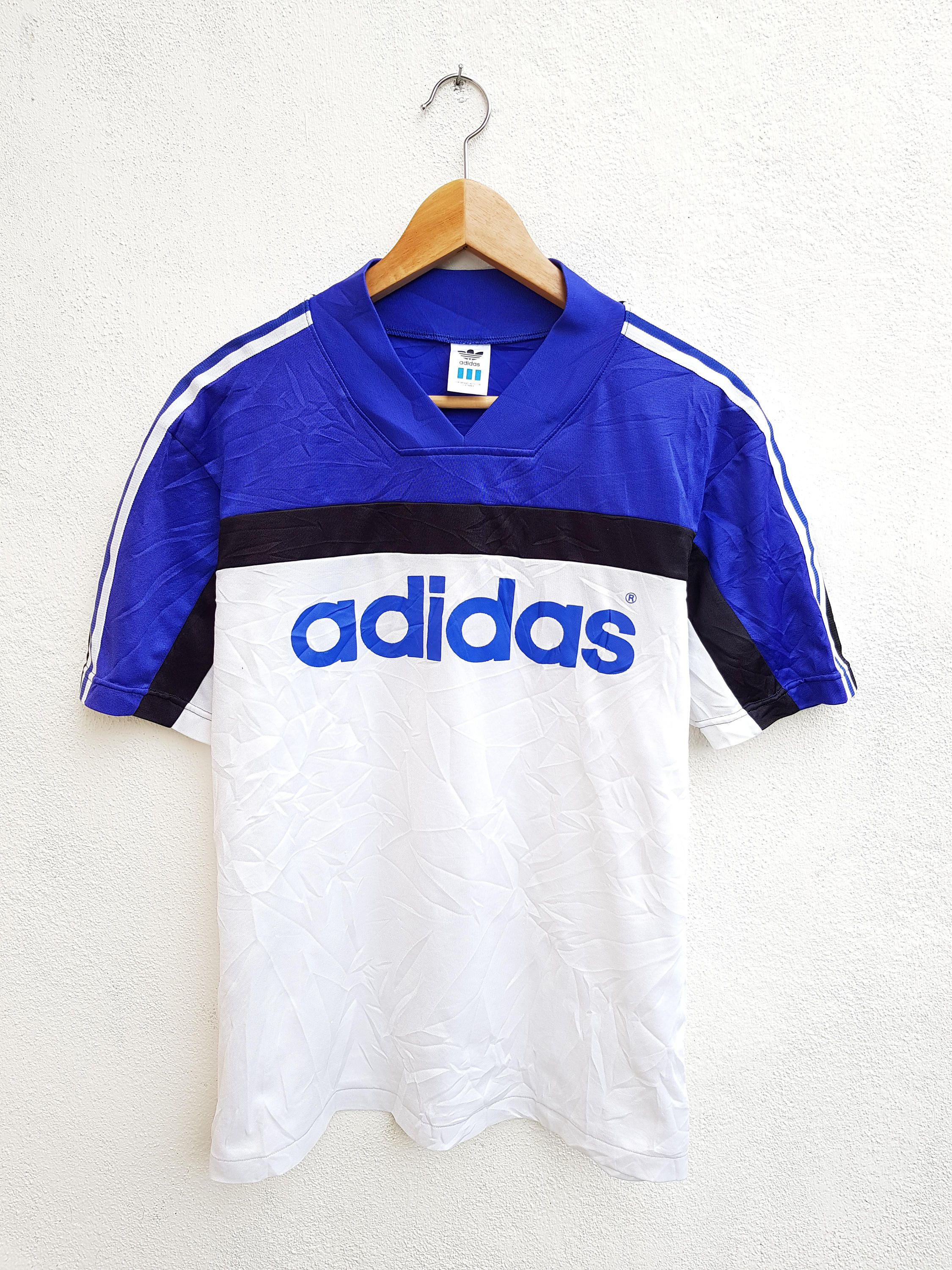 b8a1a5db47f4d Vintage 90s ADIDAS Spell Out Color Block Soccer Style Sportswear 3 stripes  Jersey V neck T-Shirt Size O by BubaGumpBudu on Etsy