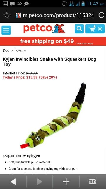 Kyjen Invincibles Snake With Squeaker Dog Toy Dog Toys Squeaker Petco