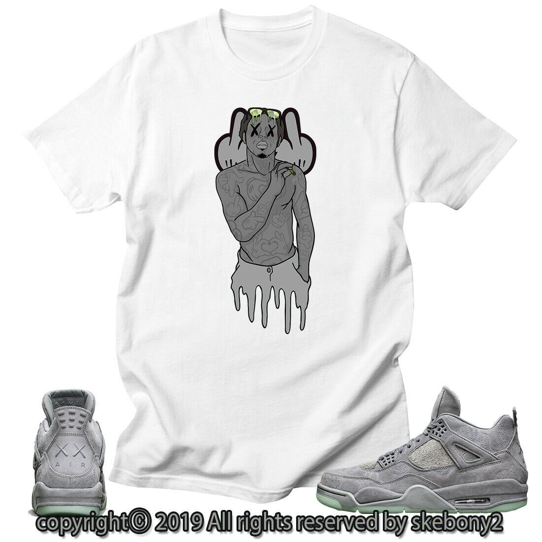 991dab272be1 Details about CUSTOM T SHIRT MATCHING STYLE OF Air Jordan 4 KAWS x ...