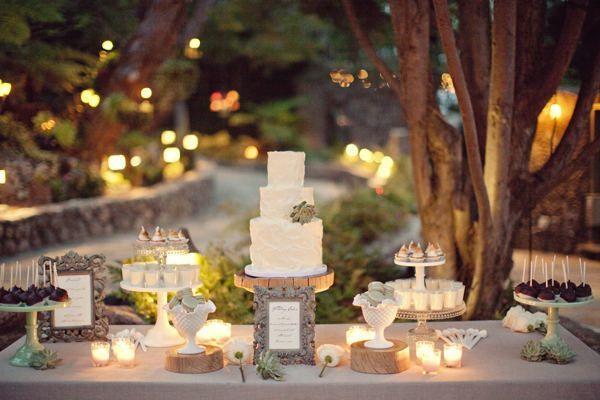 candlelit rustic succulent mini dessert bar