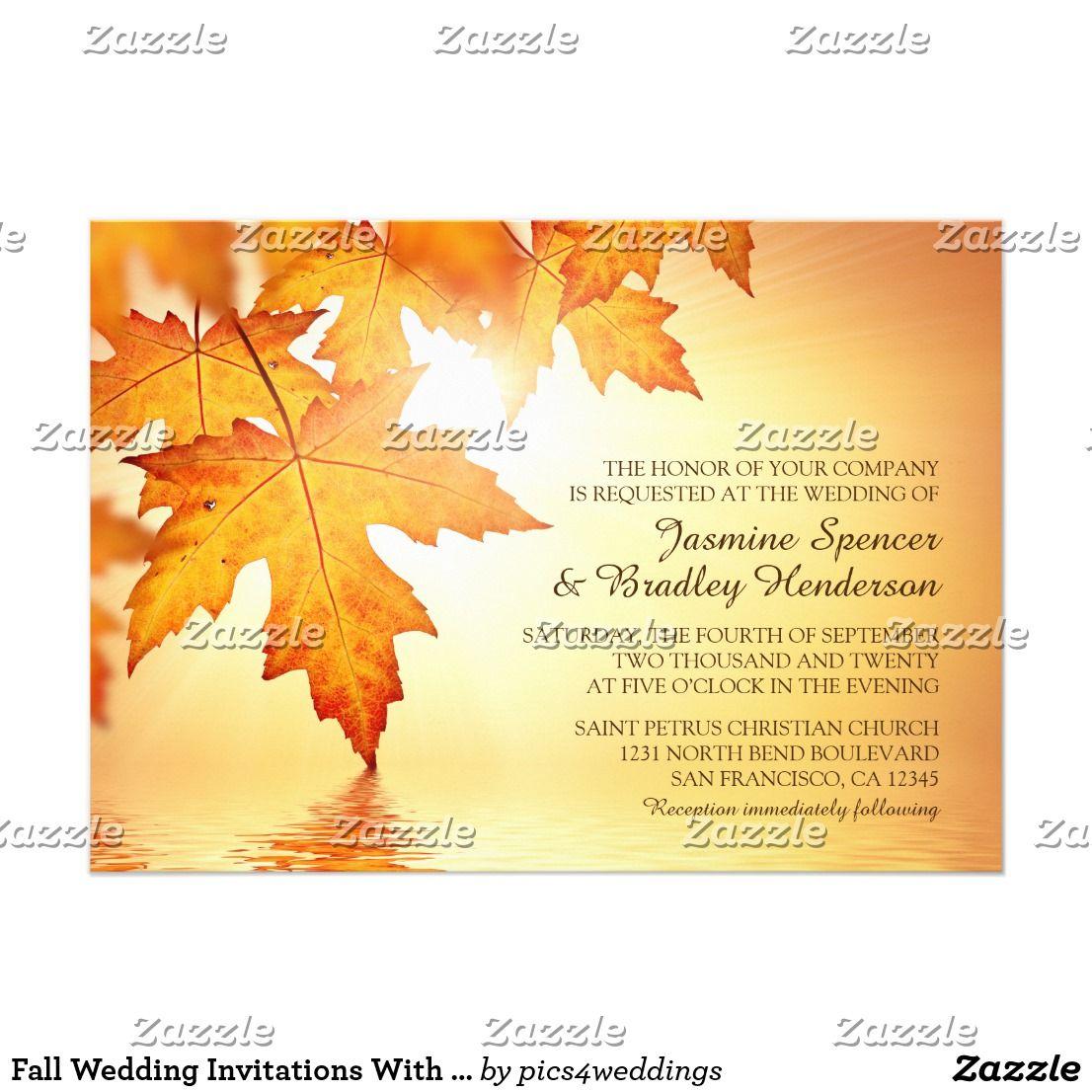 Fall Wedding Invitations With Orange Leaves   Reception invitations ...