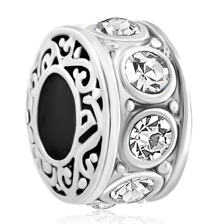 The Kiss Round Circle Blue CZ 925 Sterling Silver Bead Fits European Charm Bracelet