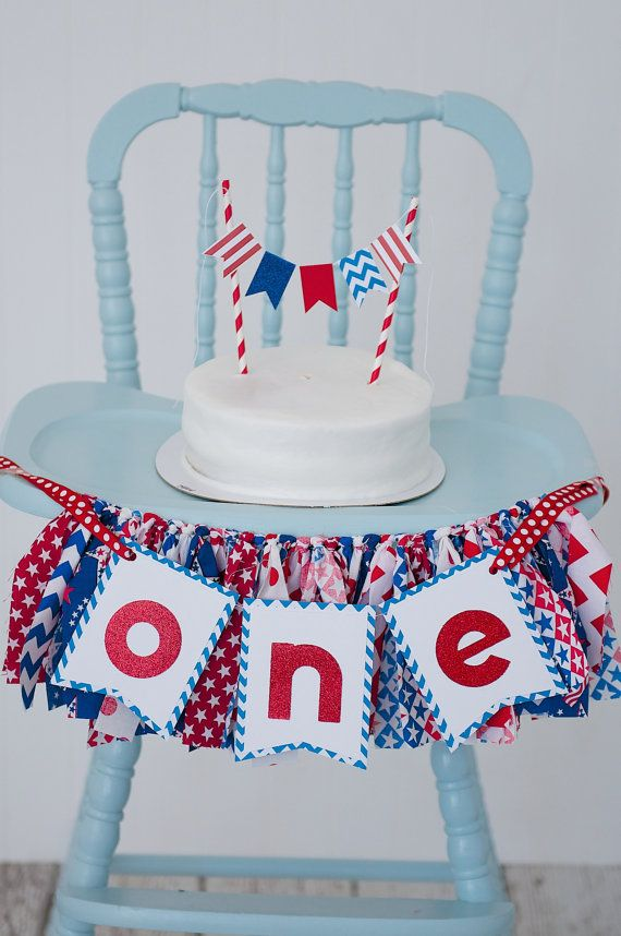July 4th Birthday Cake Smash Red White And Blue Banner Party Decorations