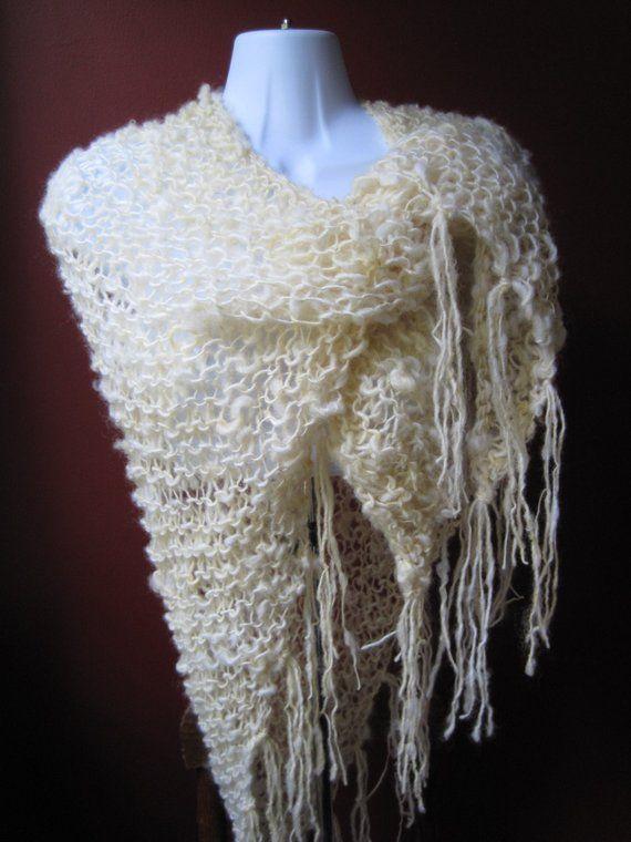 Hand Knit Ivory Shawl Natural Handspun Wool Shawl