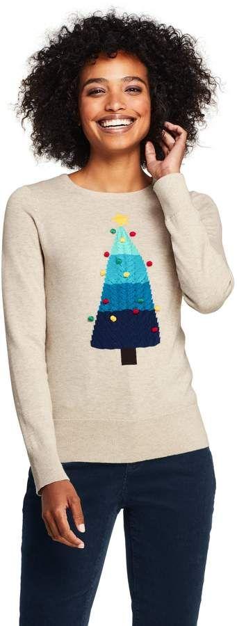 Lands\u0027end Women\u0027s Tall Supima Cotton Christmas Sweater Placed