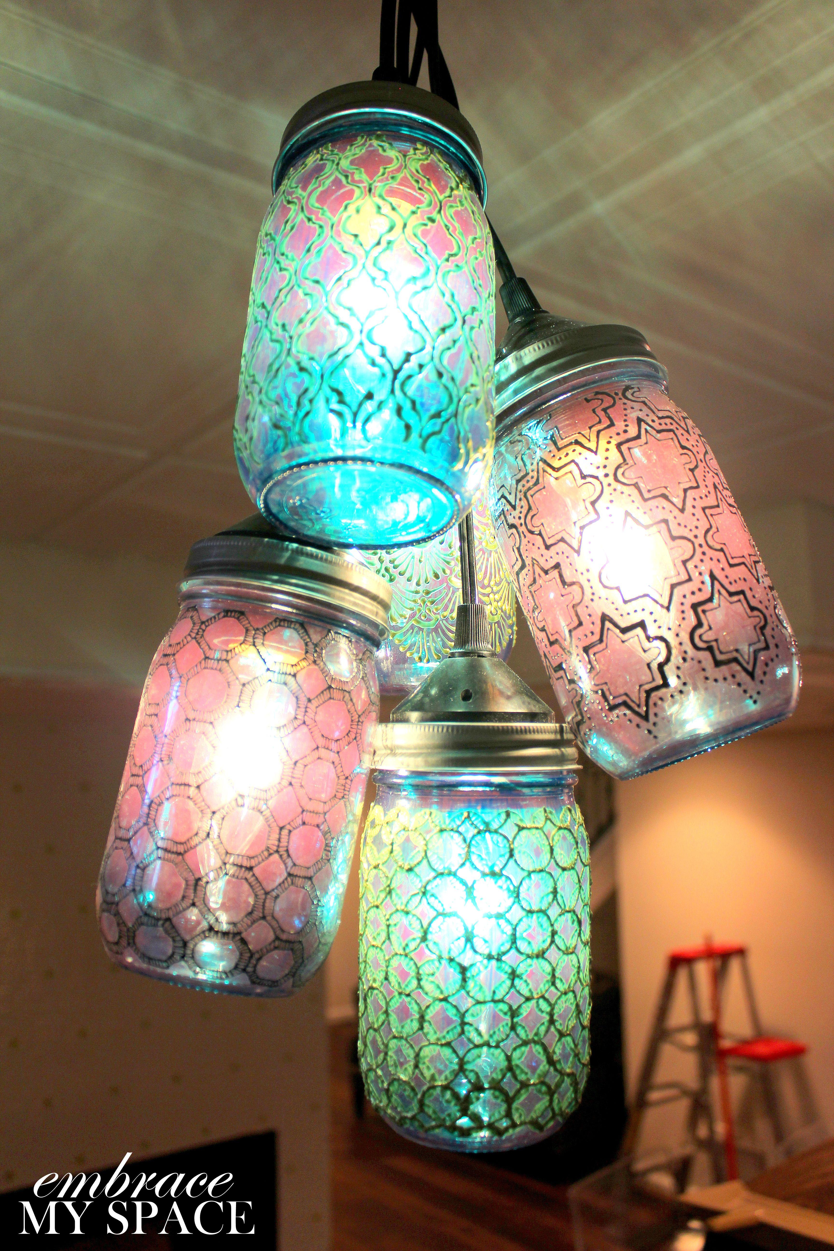 Litdecor Moroccan Mason Jar Chandelier Colors Patterns