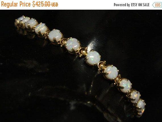 Holiday Sale Vintage 14K Opal Tennis Bracelet Measures by june2six