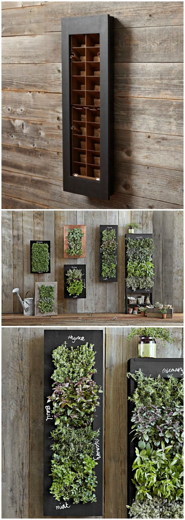 Connected wood box floating planters Vertical garden