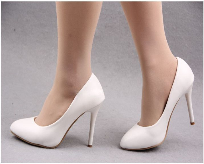 2014 Spring Autumn Work Shoes Soft Leather OL Thin Heels Single Shoes Plus  Size Womens Shoes White High-heeled Shoes Free Ship